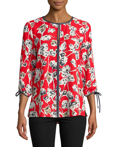 Ivanka Trump Denim-Trimmed Floral Blouse-RED-X-Large