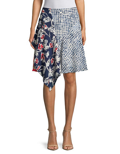 Ivanka Trump Asymmetric Mix Print Skirt-MULTI-2