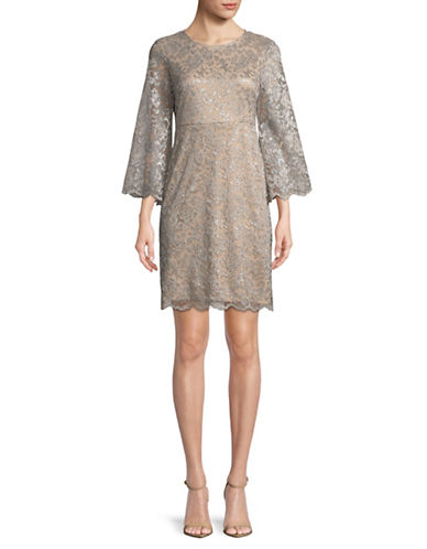 Ivanka Trump Metallic Lace Dress-SILVER-10