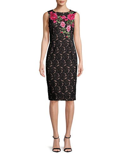 Ivanka Trump Lace Embroidered Midi Dress-BLACK-8