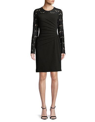 Ivanka Trump Pleated Lace Sheath Dress-BLACK-4