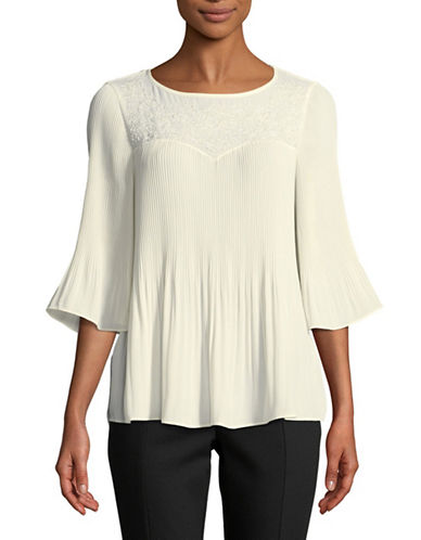 Ivanka Trump Pleated Bell-Sleeve Blouse-VANILLA-Small