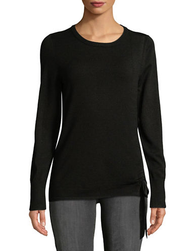 Ivanka Trump Bow -Tie Pullover Top-BLACK-X-Small