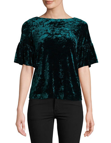 Ivanka Trump Crushed Velvet Top-GREEN-Small