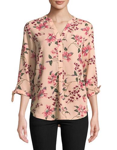 Ivanka Trump Floral Print Blouse-PINK-Large