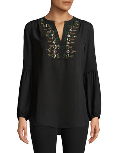 Ivanka Trump Embellished Blouse-BLACK-X-Small