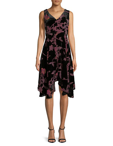 Ivanka Trump Velvet Burnout Fit-and-Flare Dress-BLACK-2