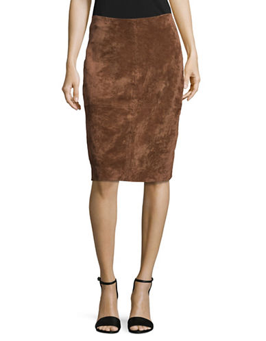 Ivanka Trump Faux Suede Pencil Skirt-BROWN-8