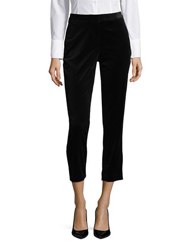 Ivanka Trump Slim Velvet Pants-BLACK-10