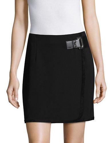 Ivanka Trump Velvet Trim A-Line Skirt-BLACK-14