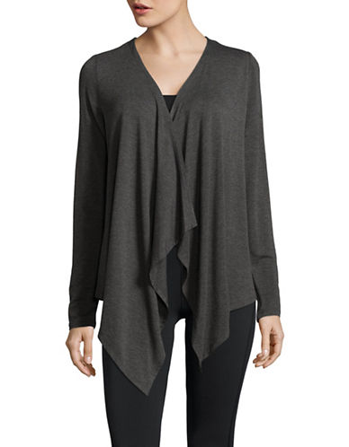 Ivanka Trump Mushy Drape Knit Cardigan-CHARCOAL-X-Large