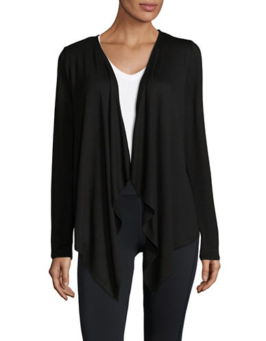 Ivanka Trump Mushy Drape Knit Cardigan-BLACK-X-Small