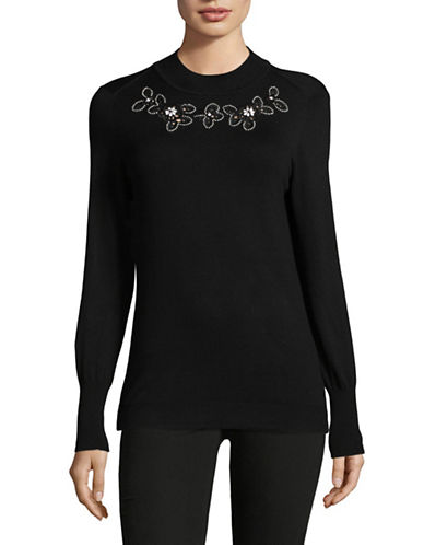 Ivanka Trump Embroidered Neck Pullover-BLACK-X-Small