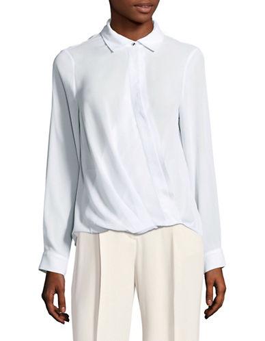 Ivanka Trump Chiffon Crossover Shirt-BLUE-Small