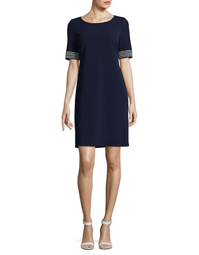 Karl Lagerfeld Paris Pearl Cuff Sheath Dress-BLUE-10