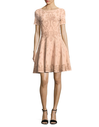 Ivanka Trump Tonal Metallic Fit-and-Flare Dress-PINK-Large