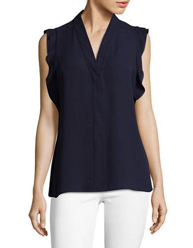Karl Lagerfeld Paris Flutter V-Neck Blouse-BLUE-Medium