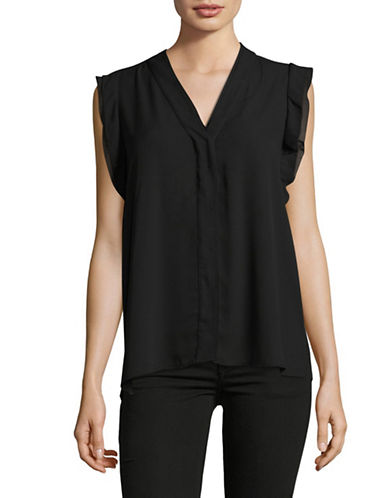 Karl Lagerfeld Paris Flutter V-Neck Blouse-BLACK-Large