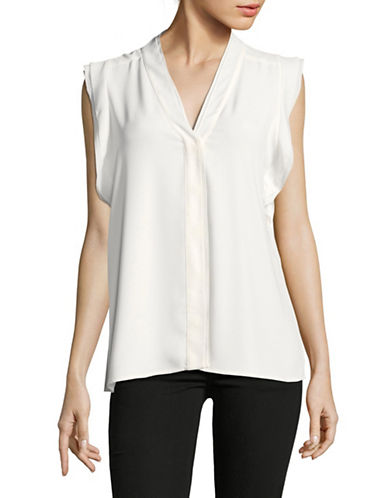Karl Lagerfeld Paris Flutter V-Neck Blouse-WHITE-Large
