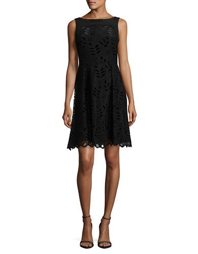 Ivanka Trump Embroidered Swing Dress-BLACK-8