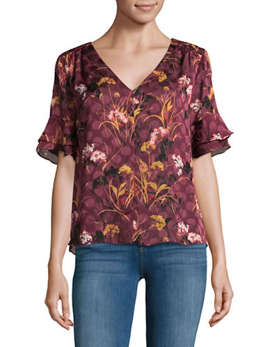Ivanka Trump Floral Bell Sleeve Blouse-PURPLE-Large