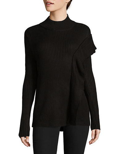 Ivanka Trump Ribbed Mock Neck Sweater-BLACK-X-Large