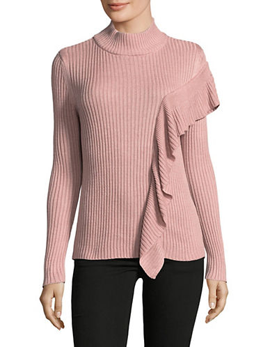 Ivanka Trump Ribbed Mock Neck Sweater-PINK-Medium