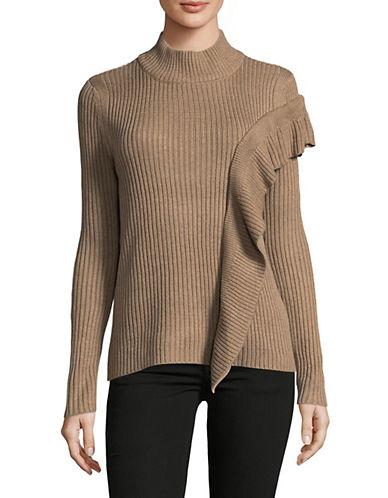 Ivanka Trump Ribbed Mock Neck Sweater-CARAMEL-Small