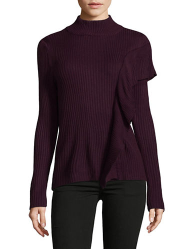 Ivanka Trump Ribbed Mock Neck Sweater-MALBEC-Small