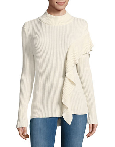 Ivanka Trump Ribbed Mock Neck Sweater-WHITE-Large