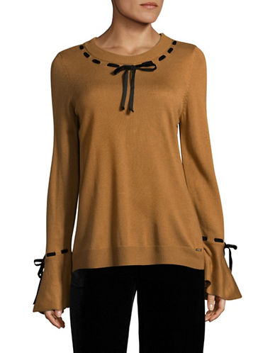 Ivanka Trump Ribbon Bell Sleeve Sweater-YELLOW-Large