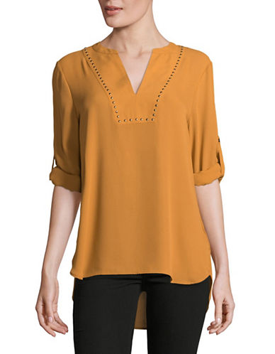 Ivanka Trump Studded V-Neck Chiffon Tunic-YELLOW-Small