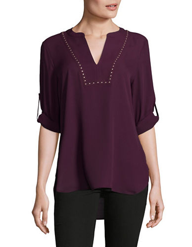Ivanka Trump Studded V-Neck Chiffon Tunic-PURPLE-Medium
