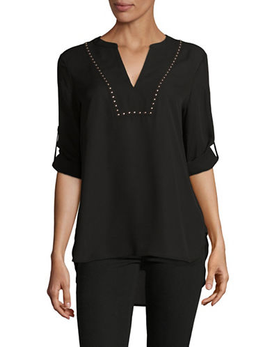 Ivanka Trump Studded V-Neck Chiffon Tunic-BLACK-X-Large