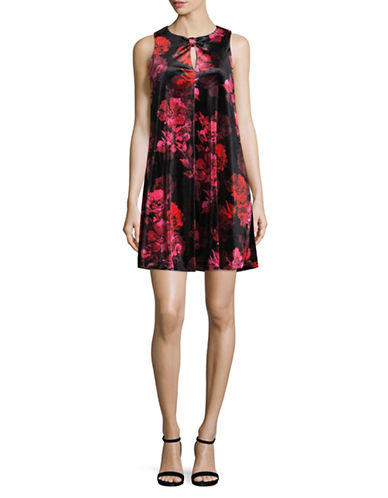 Tommy Hilfiger Floral Velvet Shift Dress-RED-2