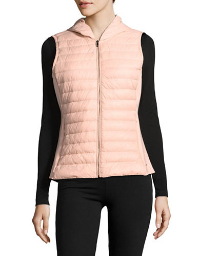 Ivanka Trump Quilted Zip Vest-PINK-Large