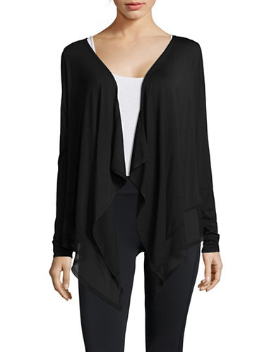 Ivanka Trump Flyaway Ponte Cardigan-BLACK-Medium
