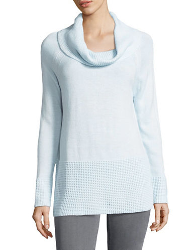 Ivanka Trump Waffle Cowl Neck Sweater-BLUE-X-Large