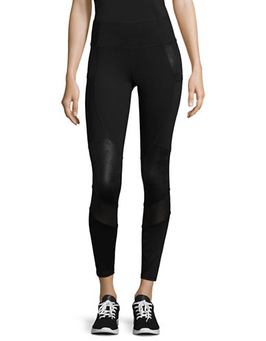 Ivanka Trump Contrast Patch Leggings-BLACK-Large