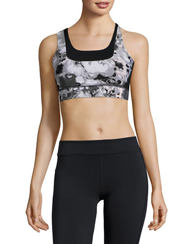 Ivanka Trump Printed Sports Bra-BLACK-X-Large