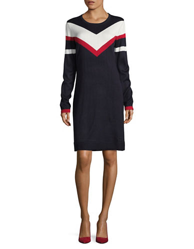 Tommy Hilfiger Chevron Sweater Dress-BLUE-Medium