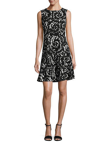 Ivanka Trump Sleeveless Scroll Print Dress-BLACK/IVORY-12