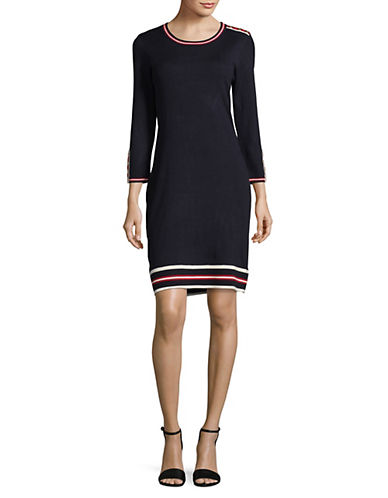 Tommy Hilfiger Rib-Stripe Sweater Dress-BLUE-X-Large