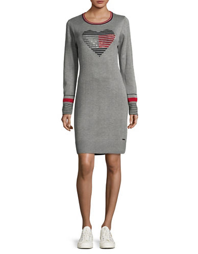 Tommy Hilfiger Tommy Heart Sweater Dress-GREY-Small