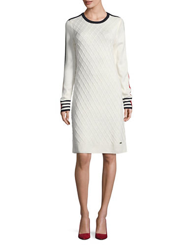 Tommy Hilfiger Diamond Knit Sweater Dress-WHITE COMBO-Medium