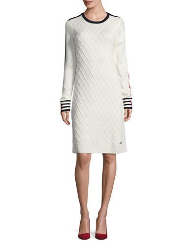 Tommy Hilfiger Diamond Knit Sweater Dress-WHITE COMBO-X-Large