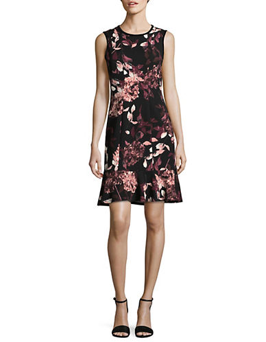 Ivanka Trump Floral Print A-Line Dress-BLACK-14