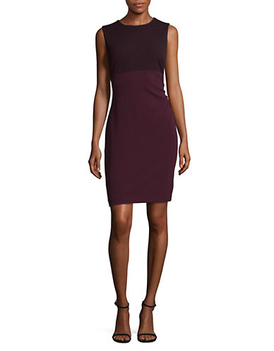 Tommy Hilfiger Two-Tone Crepe Sheath Dress-BLACK MULTI-2