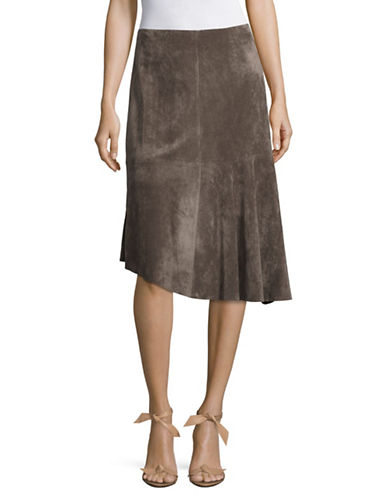 Ivanka Trump Faux Suede Asymmetrical Skirt-BROWN-10