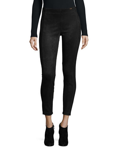 Ivanka Trump Faux Suede Leggings-BLACK-Small
